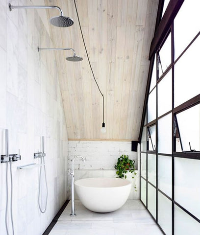 Chic Marble Bathroom & Shower with Wood Roof