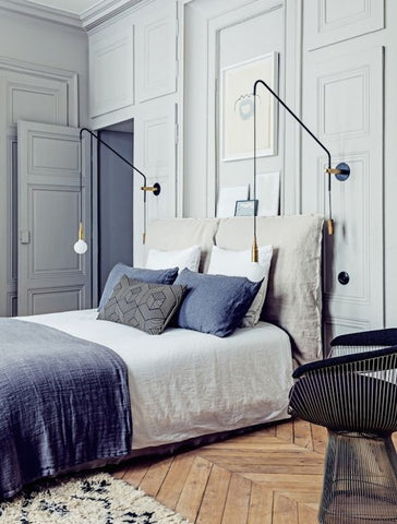 White & Velvet Blue Interior Designed Bedroom in a Parisian Apartment