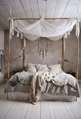 Shabby Chic Bedroom Interiors using neutral and warm colours