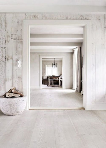 Beautiful all white interiors using natural light and natural timbers