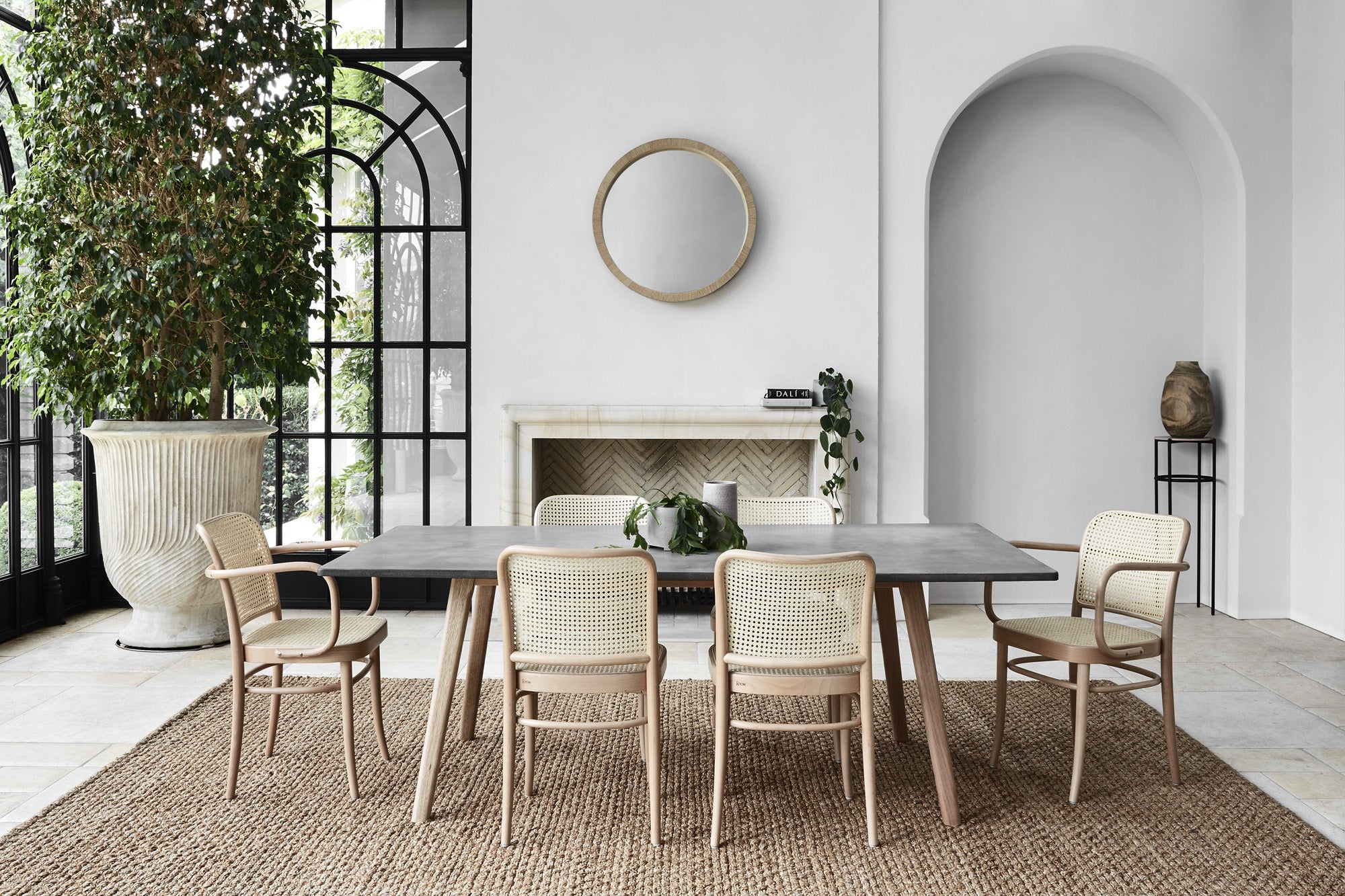Elegant & Earthy Living Room Look With Concrete Dining Table