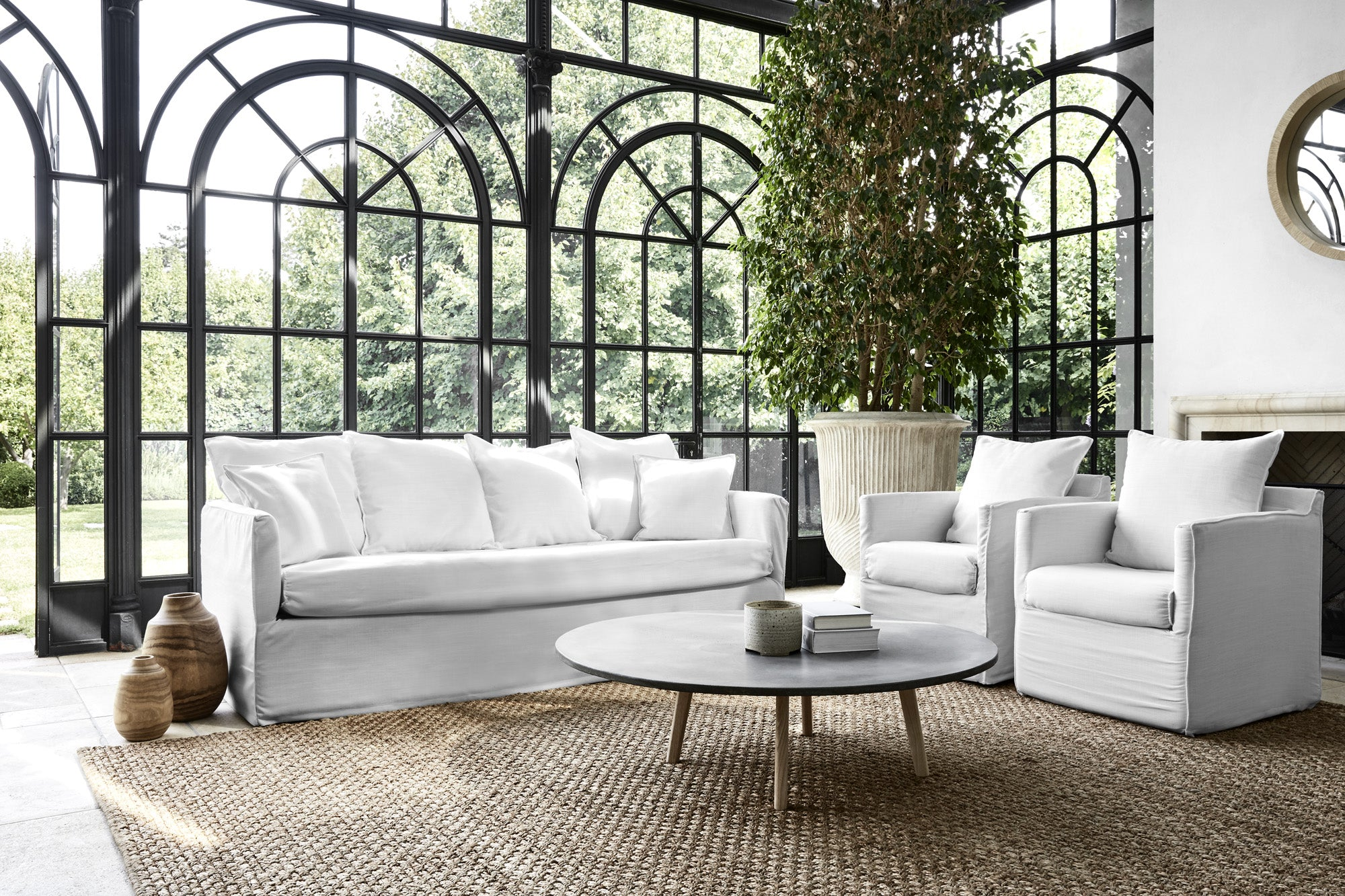 Scandinavian Slip Wash Sofa Set With Natural Light
