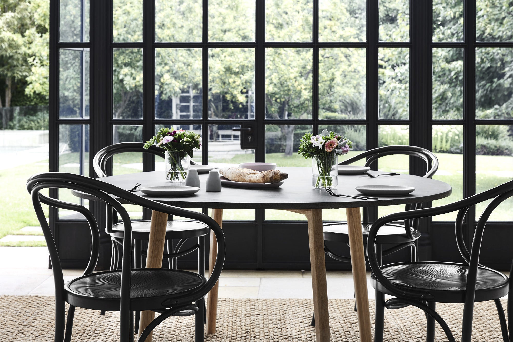 4 or 6-Seater Concrete Dining Table & Black Dining Chairs