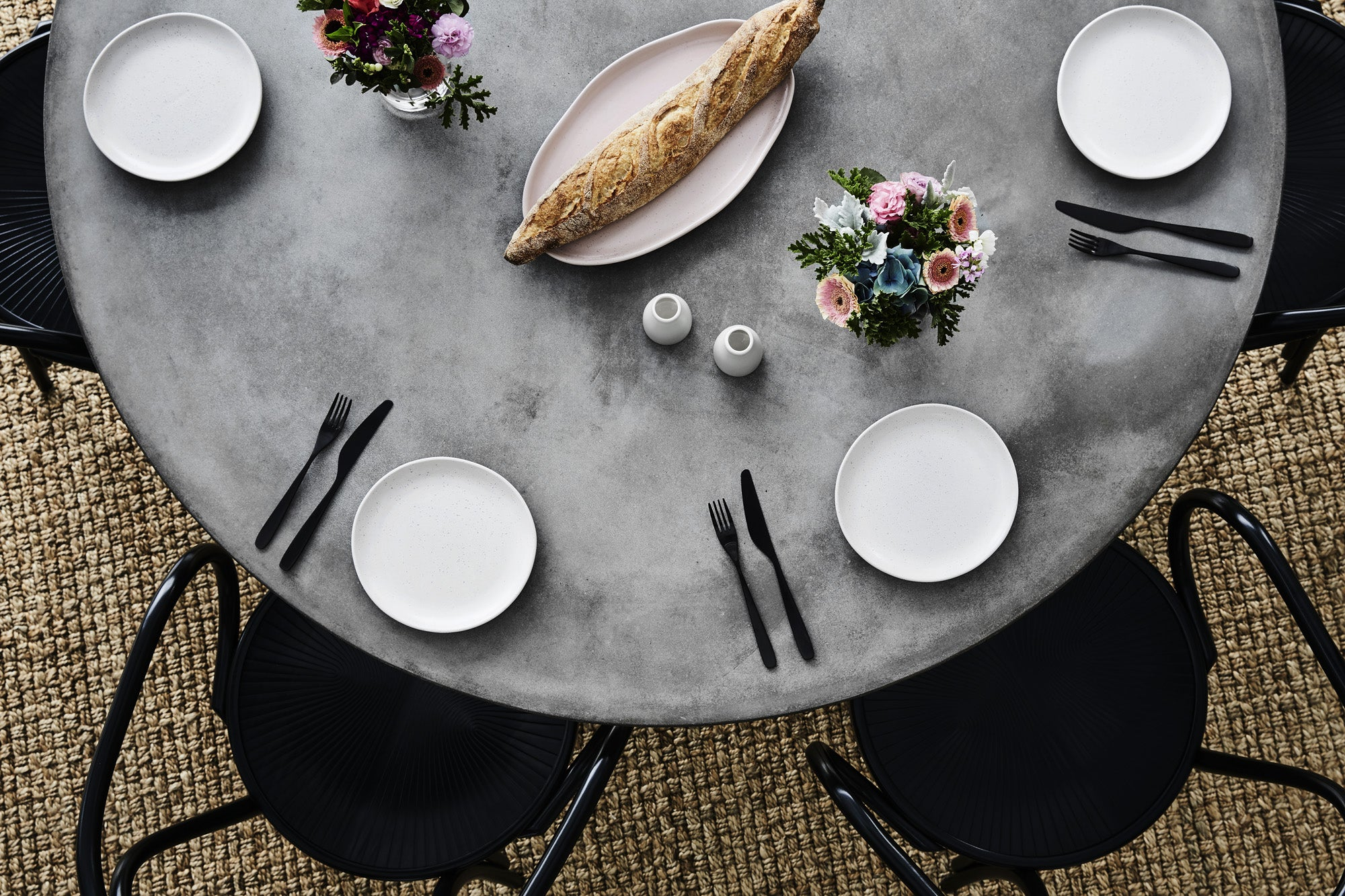 Round Concrete Dining Table For Entertainment & Family Dinners