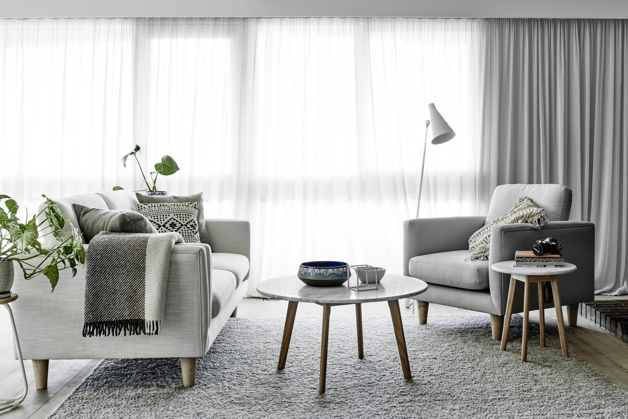 Round Marble Coffee Table with Scandi Sofa & Armchair