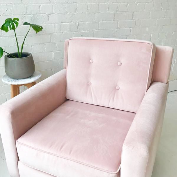 1-Seater Pink Button Armchair With 5 Years Warranty  Order Online