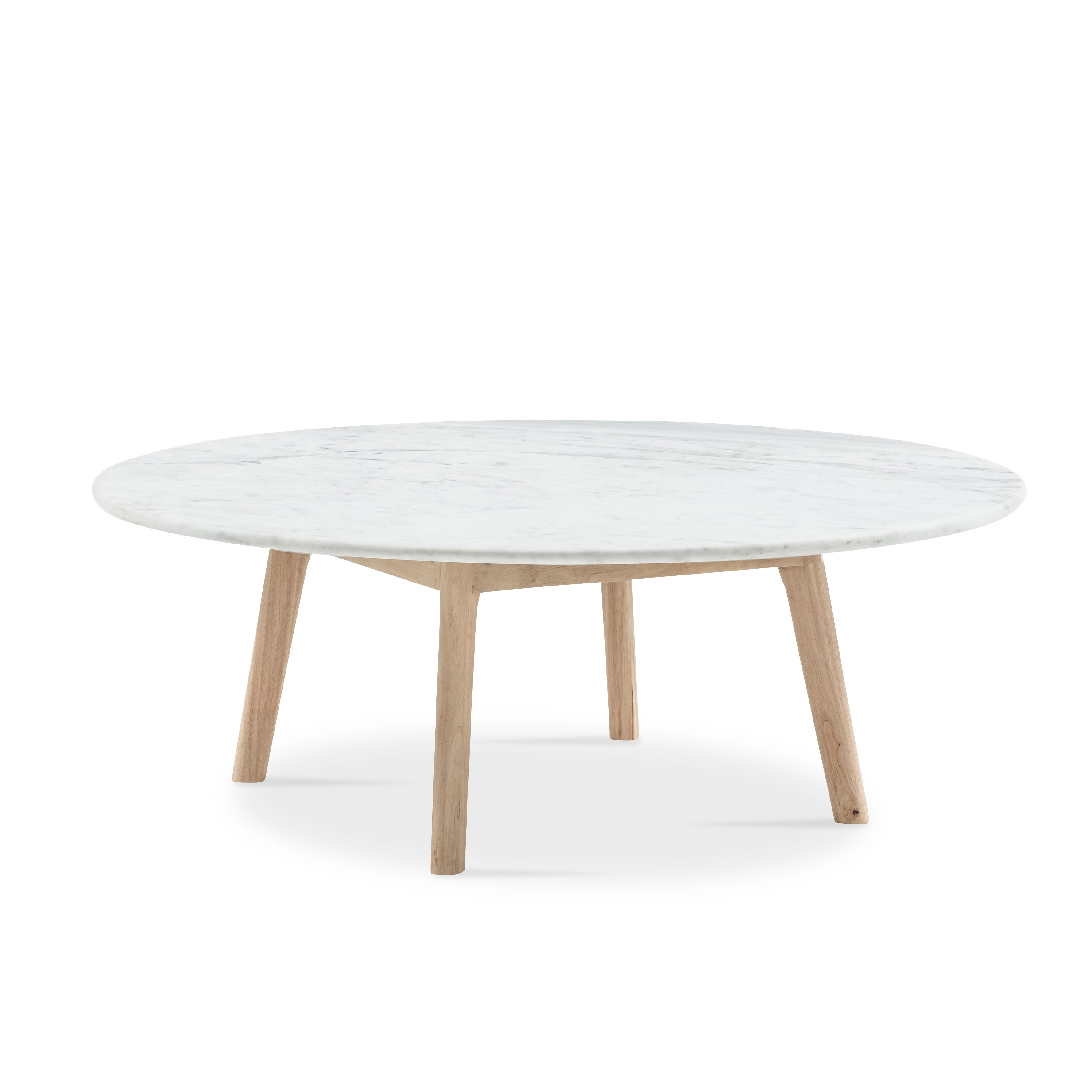 White Marble Coffee Table.Scandi Low Round Marble Coffee Table
