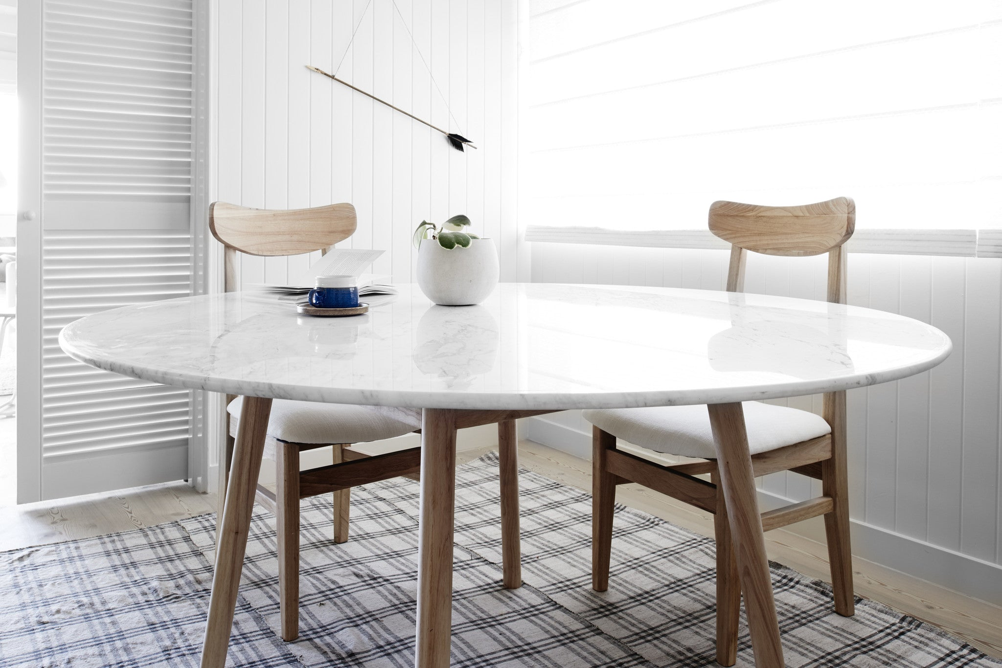 White Marble Dining Table with Walnut Timber Frame - in White Interiors