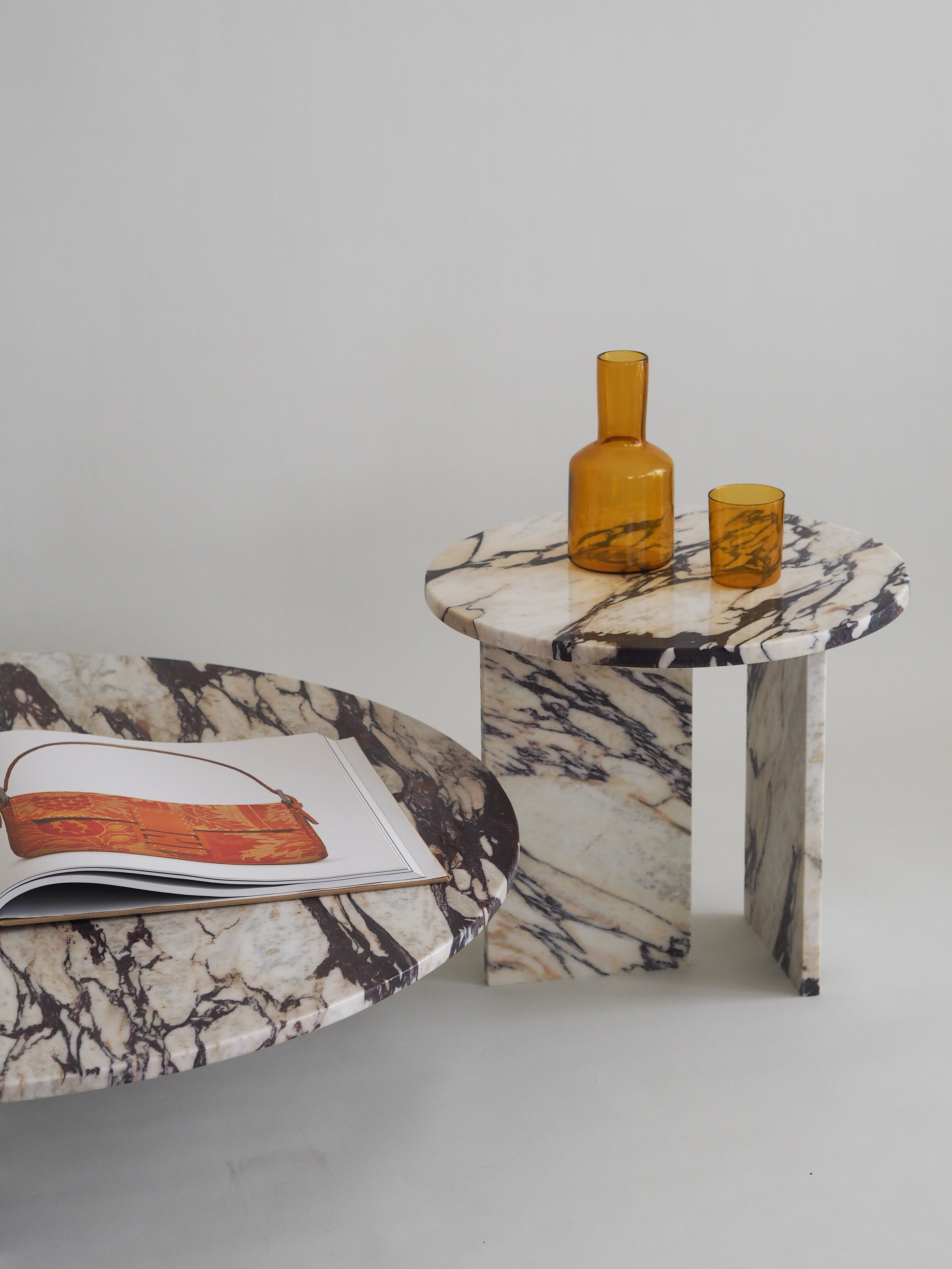 Marble T Frame Side Table