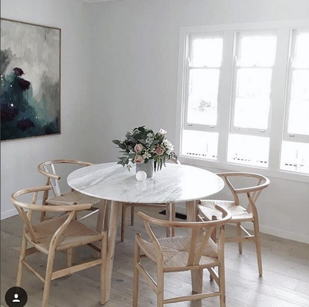 Marble Dining Table Enhanced With Timber Wishbone Dining Chairs