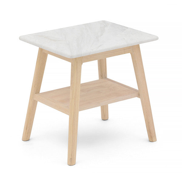 Scandi Marble Bedside Table with Timber Frame