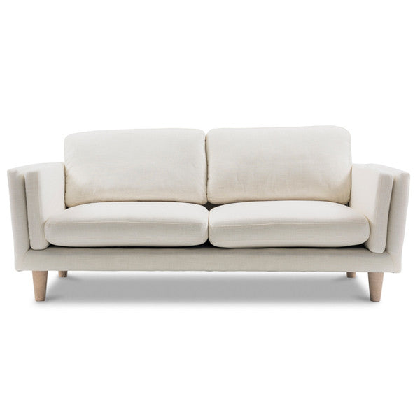 2.5 Seater White Sofa With Timber Frame  Scandinavian-Style