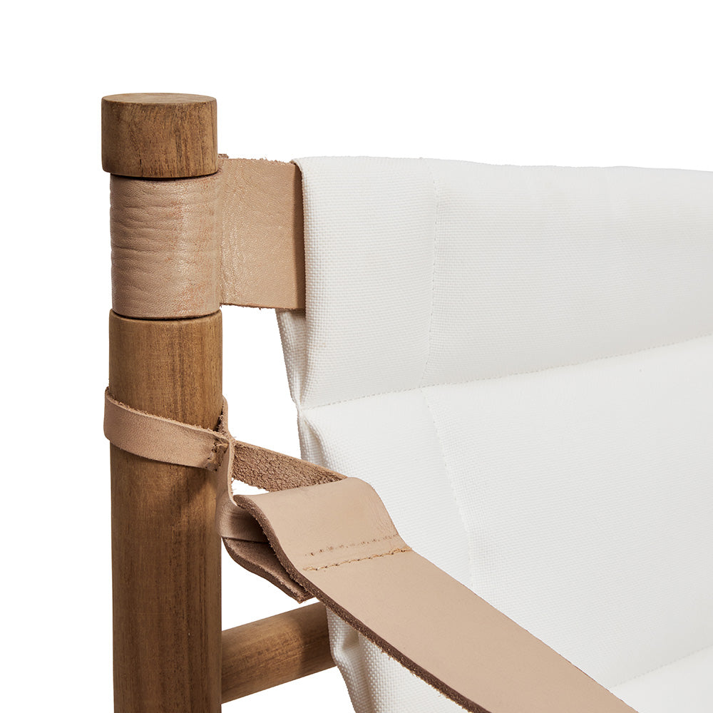 Canvas Armchair With Leather Arms