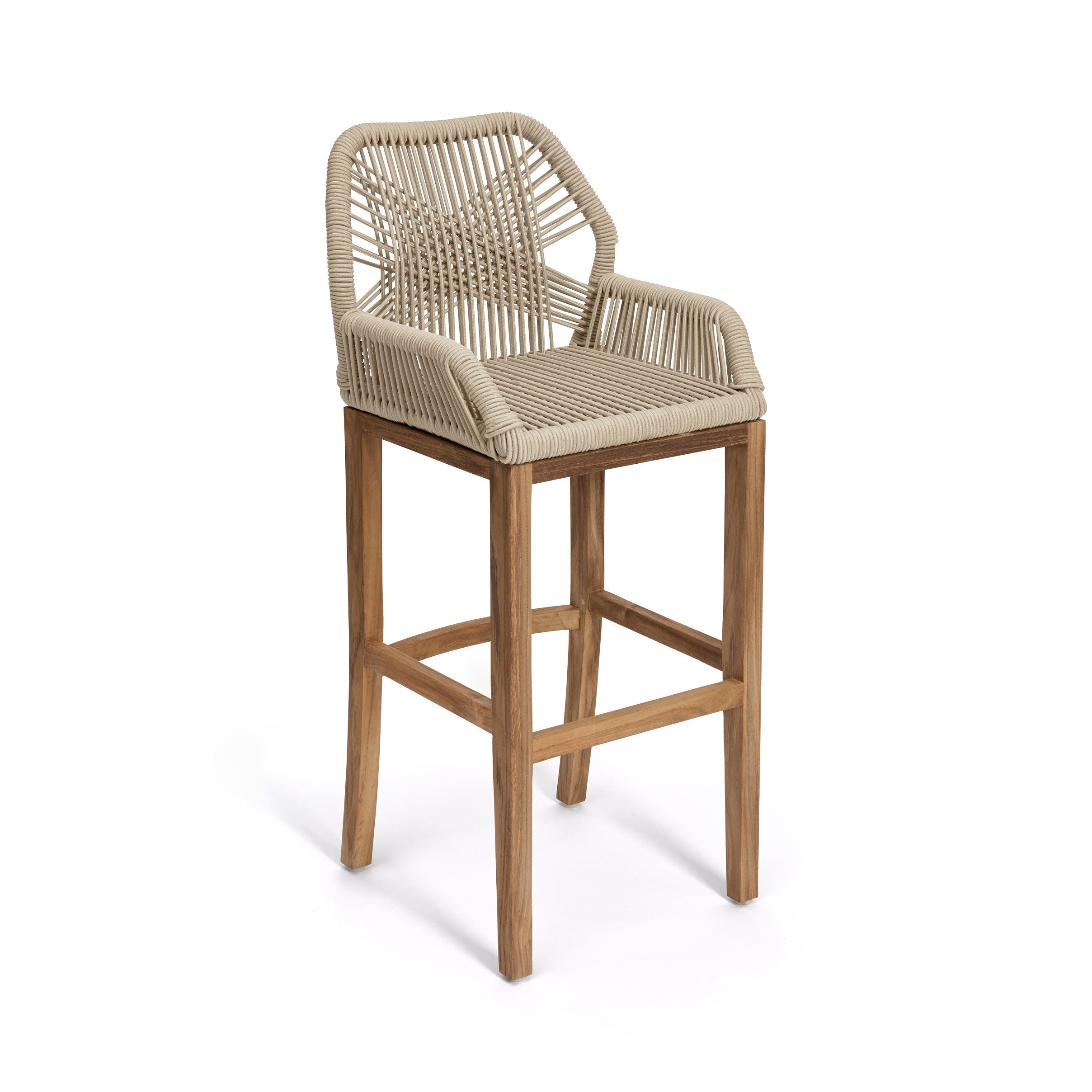 Hand-Woven Cross Cord Bar Stool