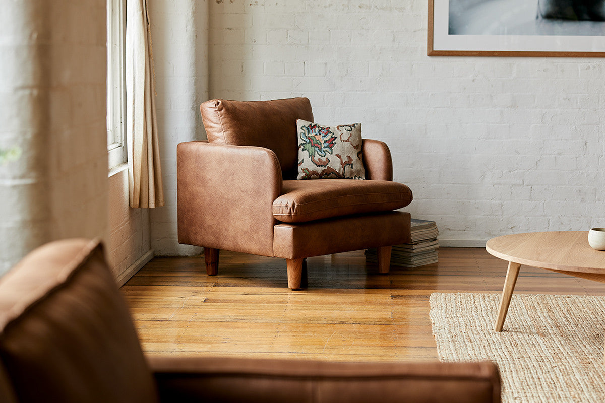 Natural Light on 1-Seater Chester Timber Armchair