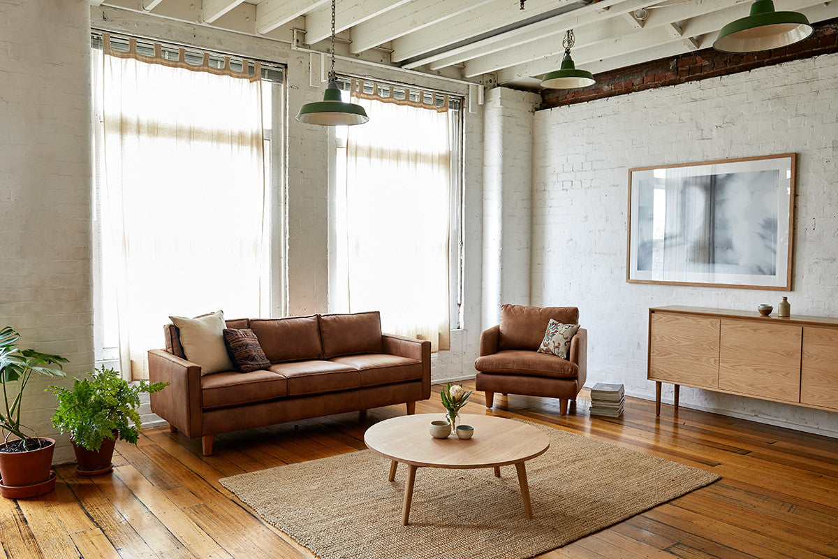 Chester Sofa & Armchair & Wooden Coffee Table in Living Room