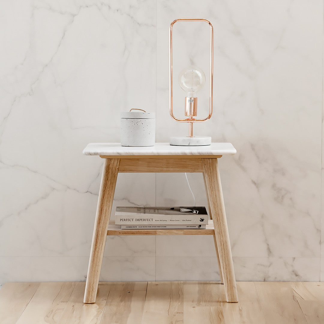 Marble Bedside Table with 2 Levels