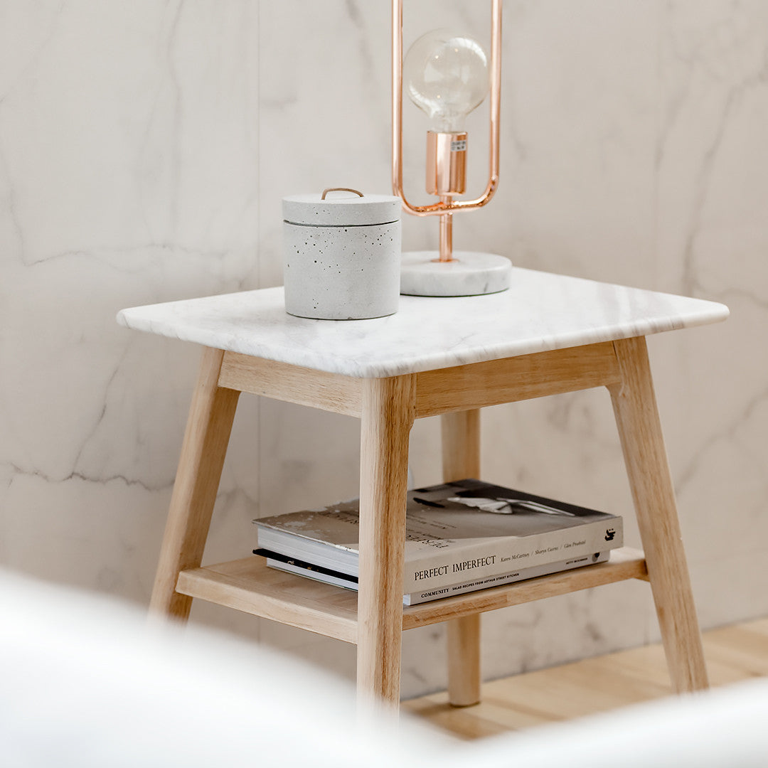 2-Step Functional & Stylish Marble Bedside Table