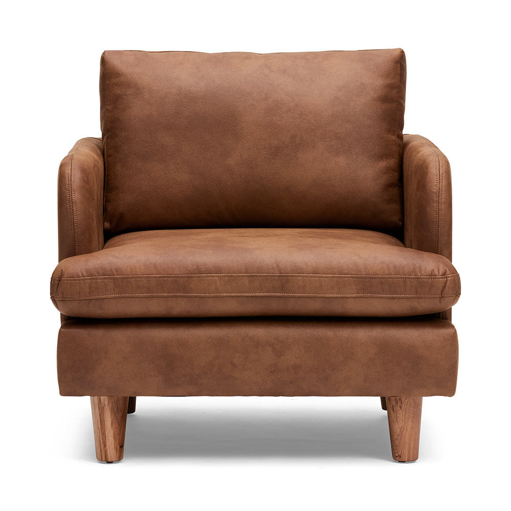 Genuine Leather Chester Timber Armchair