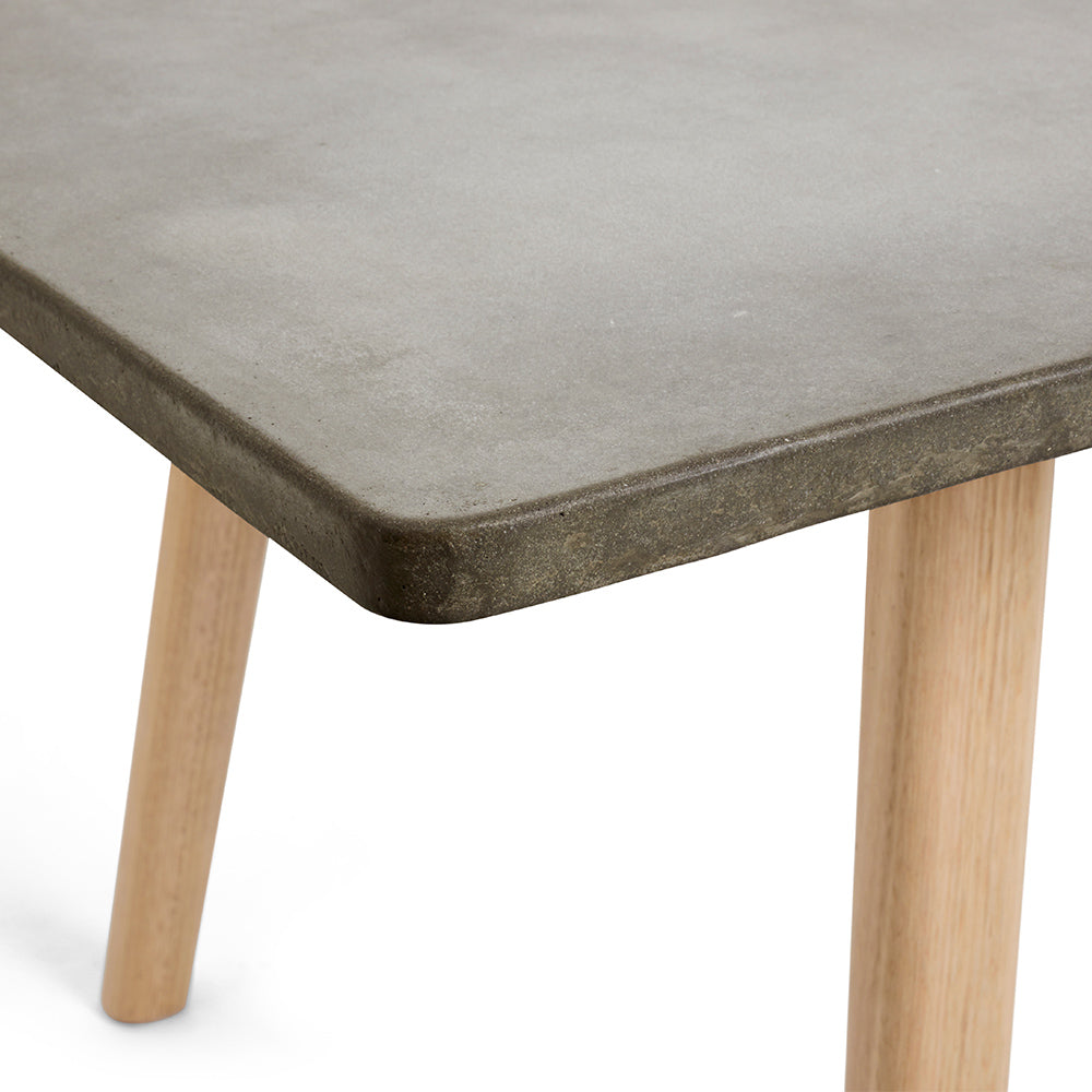 Concrete Dining Table With Light Brown Timber Frame