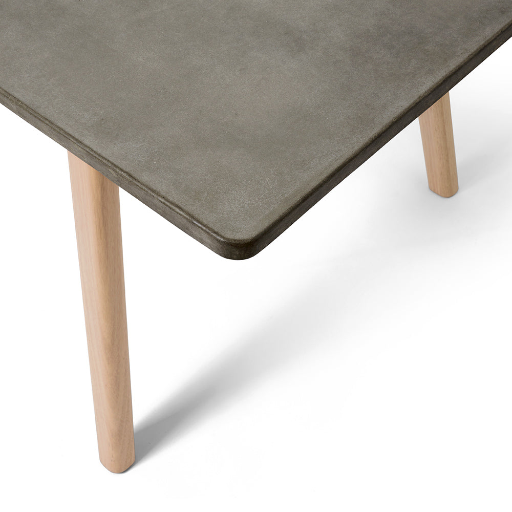 Rectangle Concrete Dining Table With Natural Timber Legs