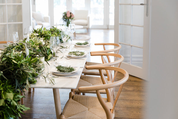 White Marble Dining Table Decorated Spring & Green Style