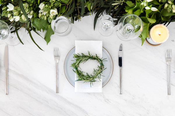 Classy White Marble Dining Table Decoration