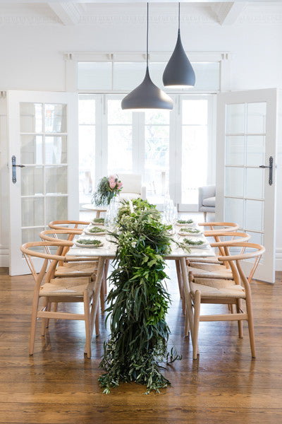 Boho Dining Room: White Marble Dining Table & Natural Cane Dining Armchairs