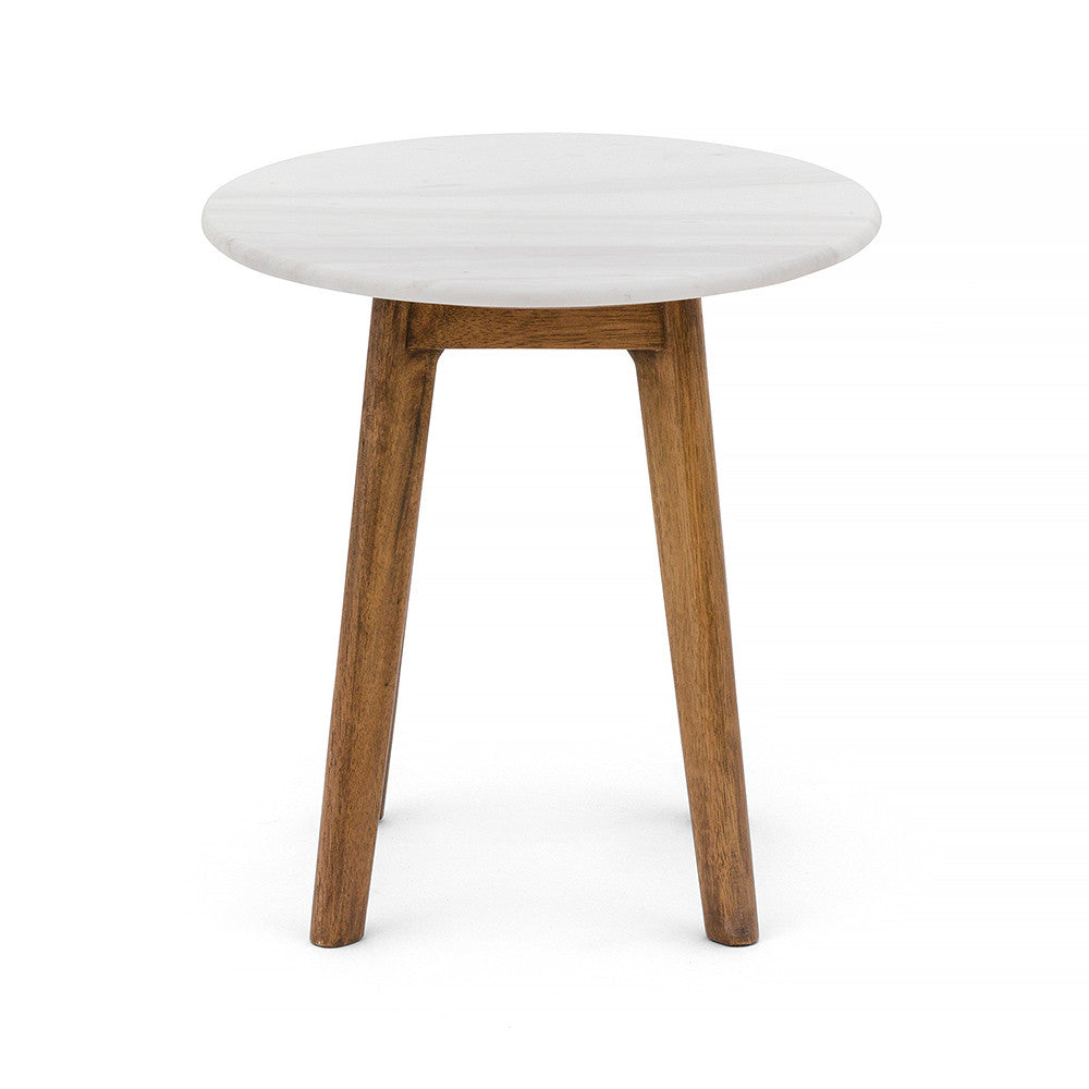 Scandi Round Marble Side Table with Timber Legs