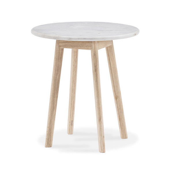 White Scandi Round Marble Side Table