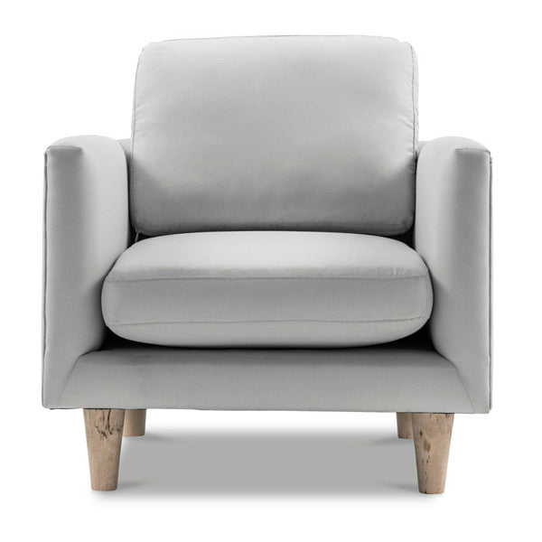 1-Seater Scandinavian Grey Armchair with Timber Frame
