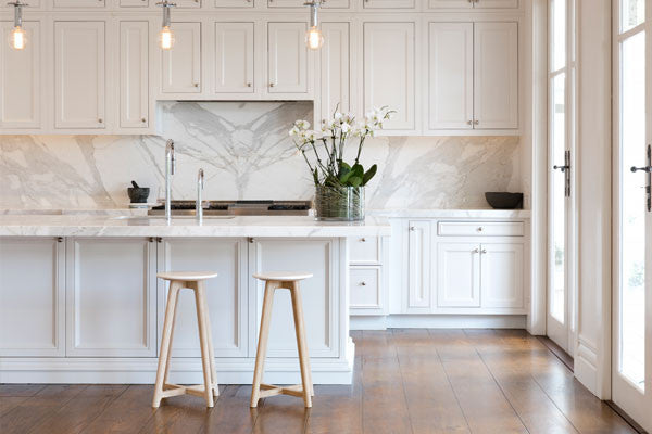 White Round Marble Bar Stool in Kitchen Made To Last