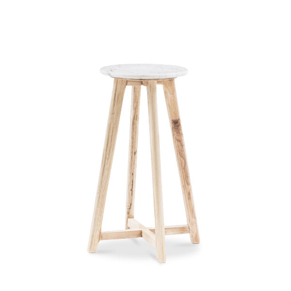 65cm White Round Marble Bar Stool - Natural Colour