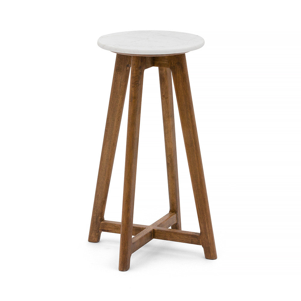 White Round Marble Stool With Walnut Timber Frame