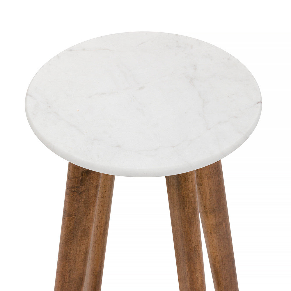 White Round Marble Bar Stool - Brown Timber Frame