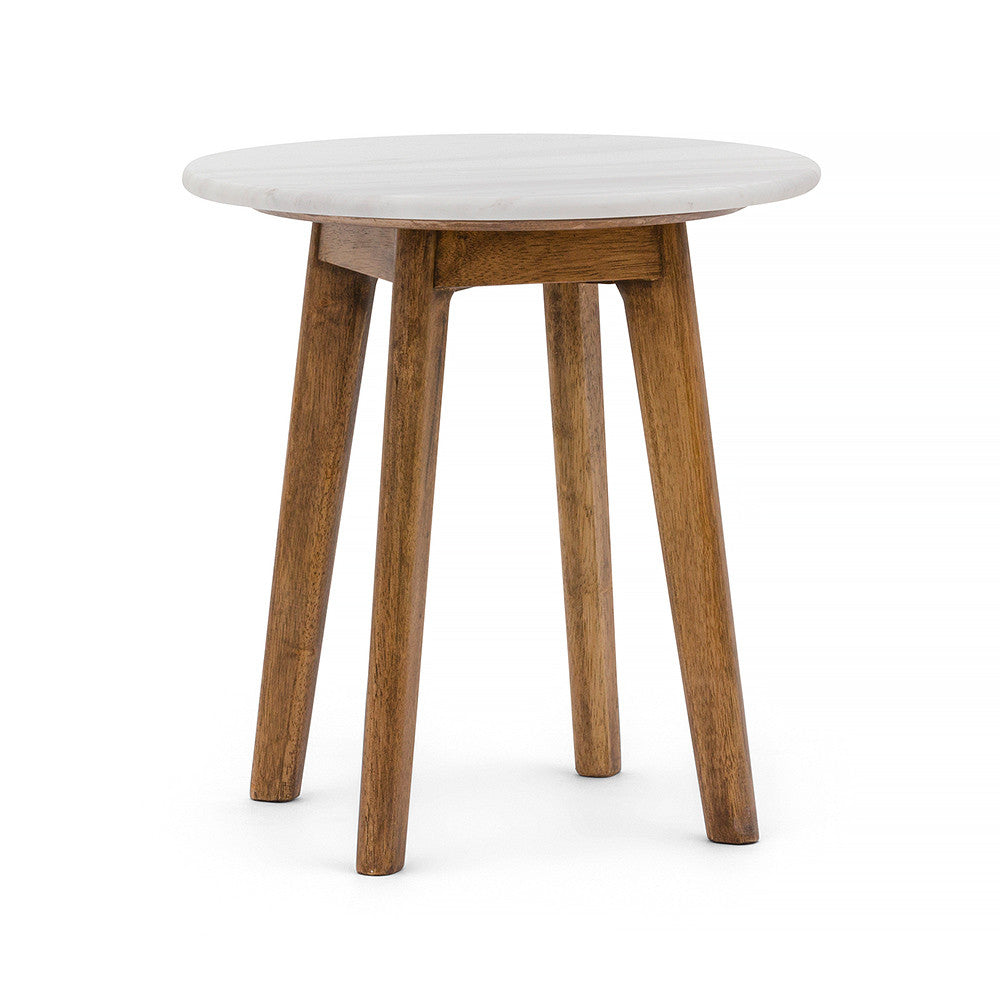White Round Marble Side Table With Brown Timber Legs