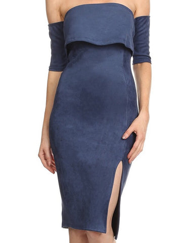 Navy Faux Suede Dress