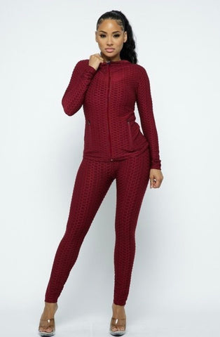Bianca Bubbly Hooded Jacket 3pc - Burgandy