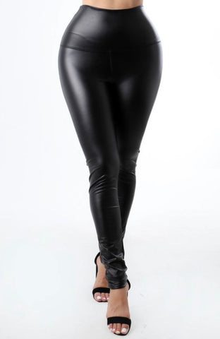 Ciani Faux Leather Leggings - Black