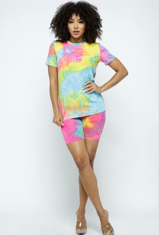 Tie Dye Biker Set - Pink/Yellow