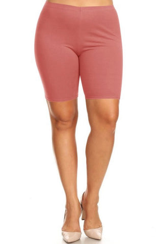 Plus Size Biker Shorts - Marsala