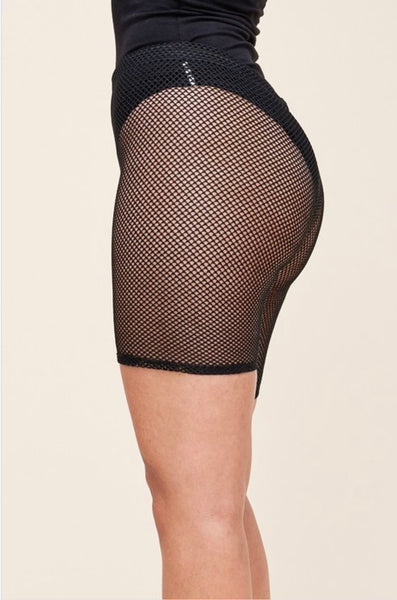 Fishnet biker shorts - Black