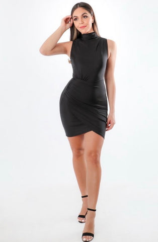Wrap Bodycon Black Dress
