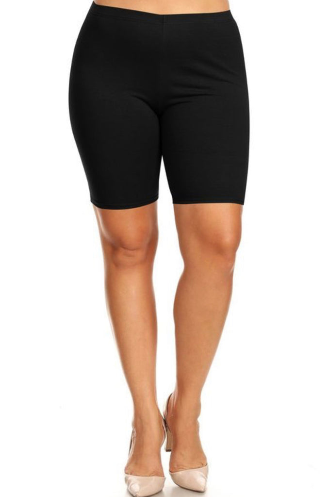 Plus Size Biker Shorts - Black