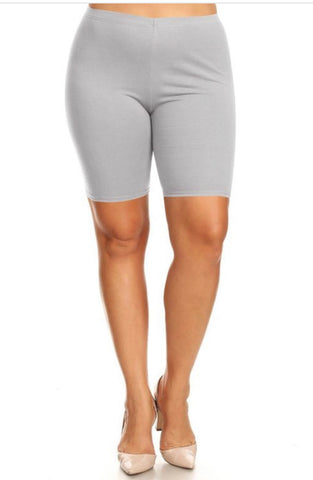Plus Size Biker Shorts - Heather Grey