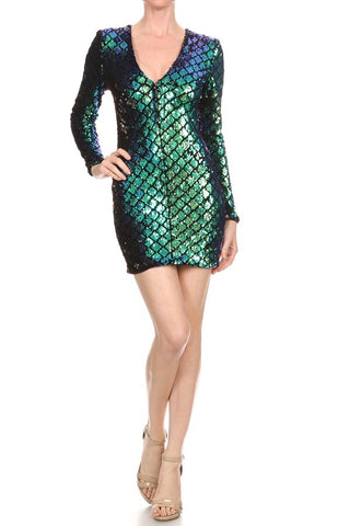 Textured Emerald Cocktail Dress