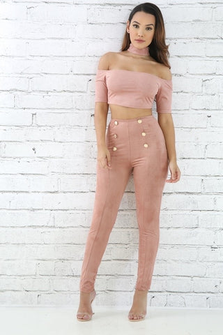 Mauve Suede Pants Set - 2pc