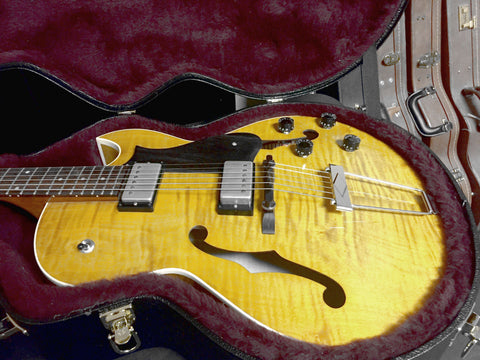 Heritage H-575 Custom Carved Hollow Body in Amber Translucent