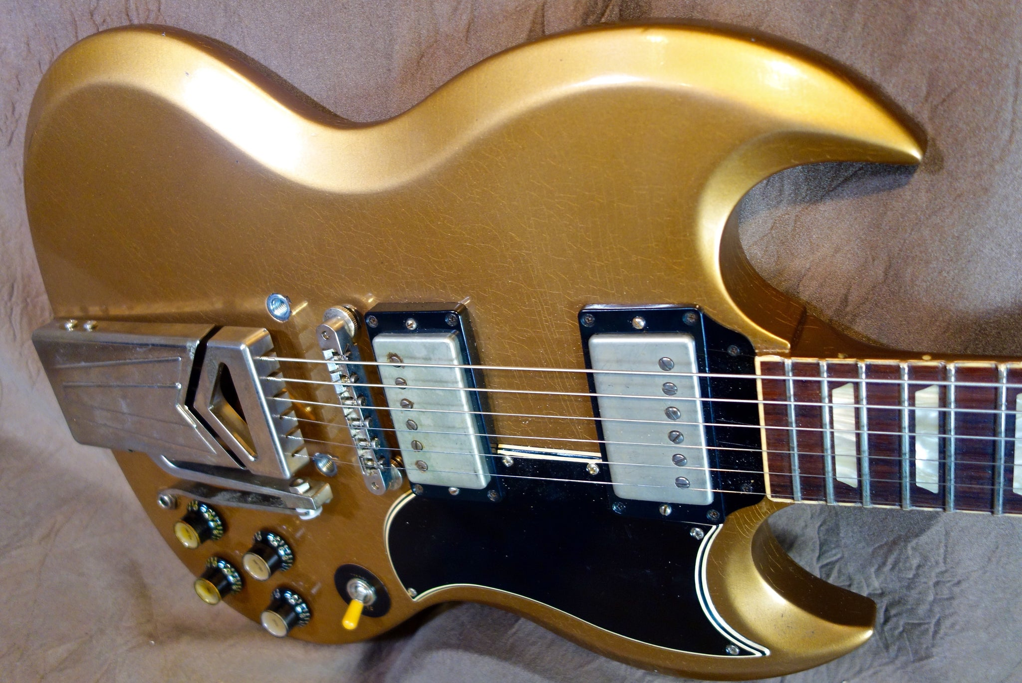 Gorgeous Metallic Gold Jimmy Wallace SG with side Tremelo