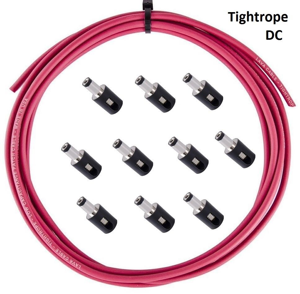 LAVA Cable RED Tightrope DC POWER Solderless Kit 10ft Cable and 10 DC Plugs